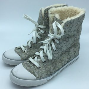 Coach Fur Lined High Tops - Size 8B